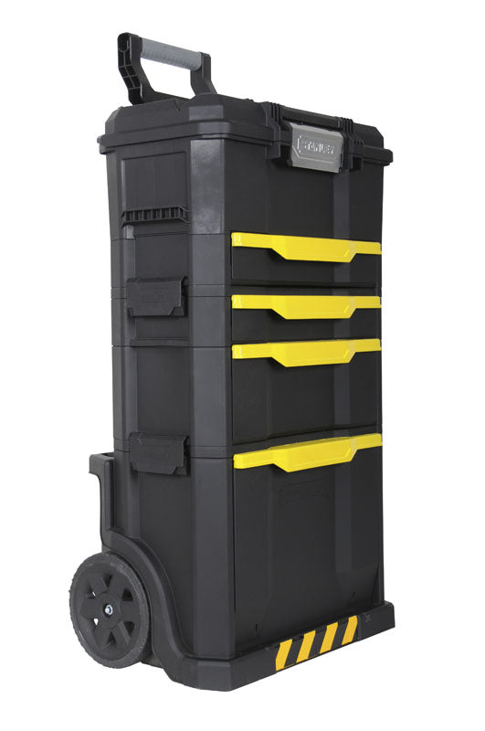 STANLEY modular rolling workshop with on touch latch toolbox and drawer