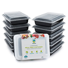 Chefoh 10-Pack 1 Compartment Meal Prep Containers with Lids - 28 oz | Reusable Microwavable Food Storage Containers
