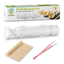 Chefoh All-In-One Sushi Making Kit | Sushi Bazooka - Sushi Mat & Bamboo Chopsticks Set | DIY Rice Roller Machine | Very Easy To Use | Food Grade Plastic Only | Must-Have Kitchen Appliance