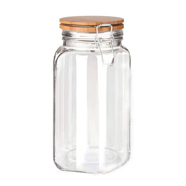 Chefoh Wide Mouth Glass Jar - Airtight Storage Jar with wood Bamboo Lid –Large Jar Perfect for Beans - Jelly - Storing and Canning Use