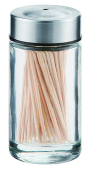 Chefoh Toothpicks Holder -  Stainless-steel Cover Toothpicks in Clear Glass holder | Sturdy Safe Container