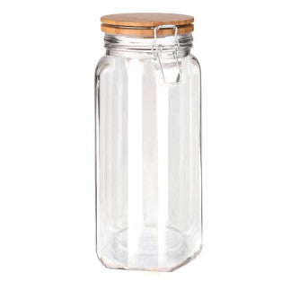 Chefoh Wide Mouth Glass Jar - Airtight Storage Jar with wood Bamboo Lid – Extra-Large Jar Perfect for Beans - Jelly - Storing and Canning Use