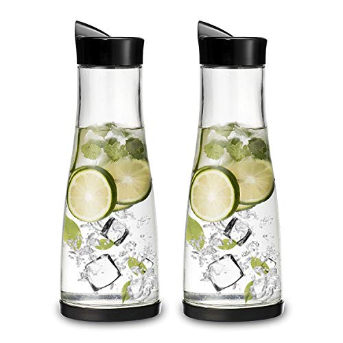 Chefoh Glass Water Carafe With Lid And Protective Base | Set of 2
