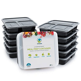Chefoh 10-Pack 3 Compartment Meal Prep Containers with Lids - 32 oz | Reusable Microwavable Divided Food Storage Lunch Bento Boxes