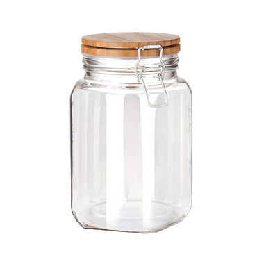 Chefoh Wide Mouth Glass Jar - Airtight Storage Jar with wood Bamboo Lid – Medium Jar Perfect for Beans - Jelly - Storing and Canning Use