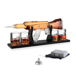 "Gun AK Rifle Whiskey Decanter and Glasses Gift Set for Men - 1000ml - 22.5"" x 8.5"" - 4 Bullet Etched Glasses - Vintage Glass Dispenser For Scotch Whisky - Bourbon Liquors - Unique - Novelty - Personal"