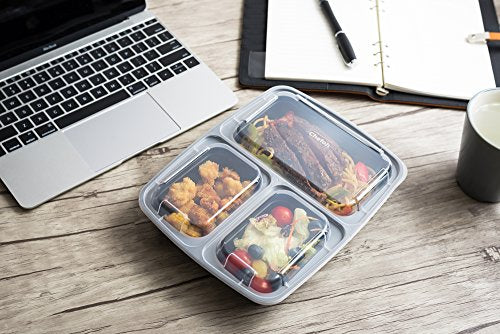 Chefoh 10-Pack 3 Compartment Meal Prep Food Containers with Lids - 32 oz | Reusable Microwavable Divided Food Storage Containers