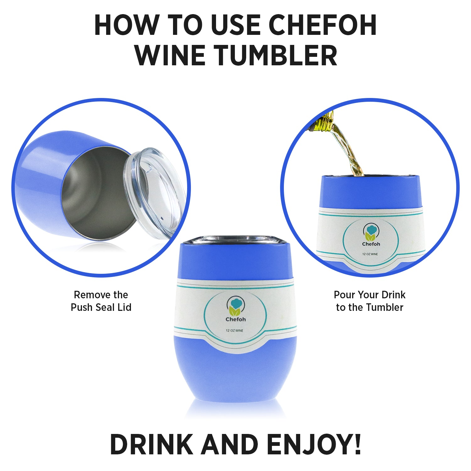 Chefoh Stainless Steel 12 Oz Stemless Drinking Glass Tumbler Cup - Hydrangea - Double Wall Vacuum Insulated - Sweat Free - Ergo Silicone Lid - Smooth Mouth Rim - For Wine - Beer - Champagne - Coffee &