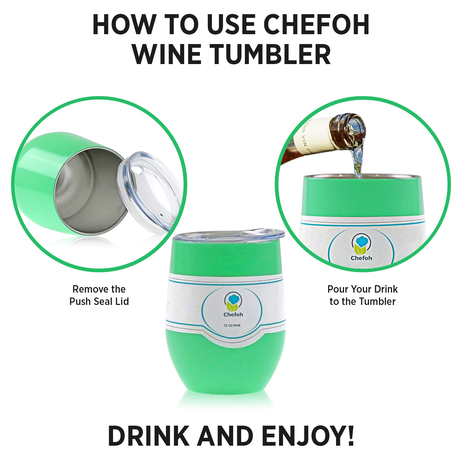 Chefoh Stainless Steel 12 Oz Stemless Drinking Glass Tumbler Cup - Mint - Double Wall Vacuum Insulated - Sweat Free - Ergo Silicone Lid - Smooth Mouth Rim - For Wine - Beer - Champagne - Coffee & More