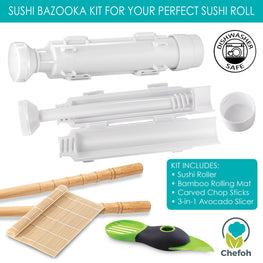 Chefoh All-In-One Sushi Making Kit | Sushi Bazooka - Sushi Mat & Bamboo Chopsticks Set + 3in1 Avocado Slicer | DIY Rice Roller Machine | Very Easy To Use | Must-Have Kitchen Appliance
