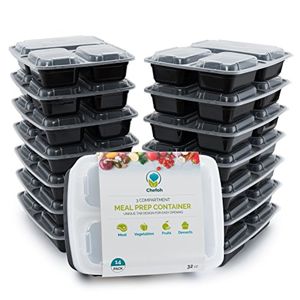 Chefoh 14-Pack 3 Compartment Meal Prep Containers with Lids - 32 oz | Reusable Microwavable Divided Food Storage Containers