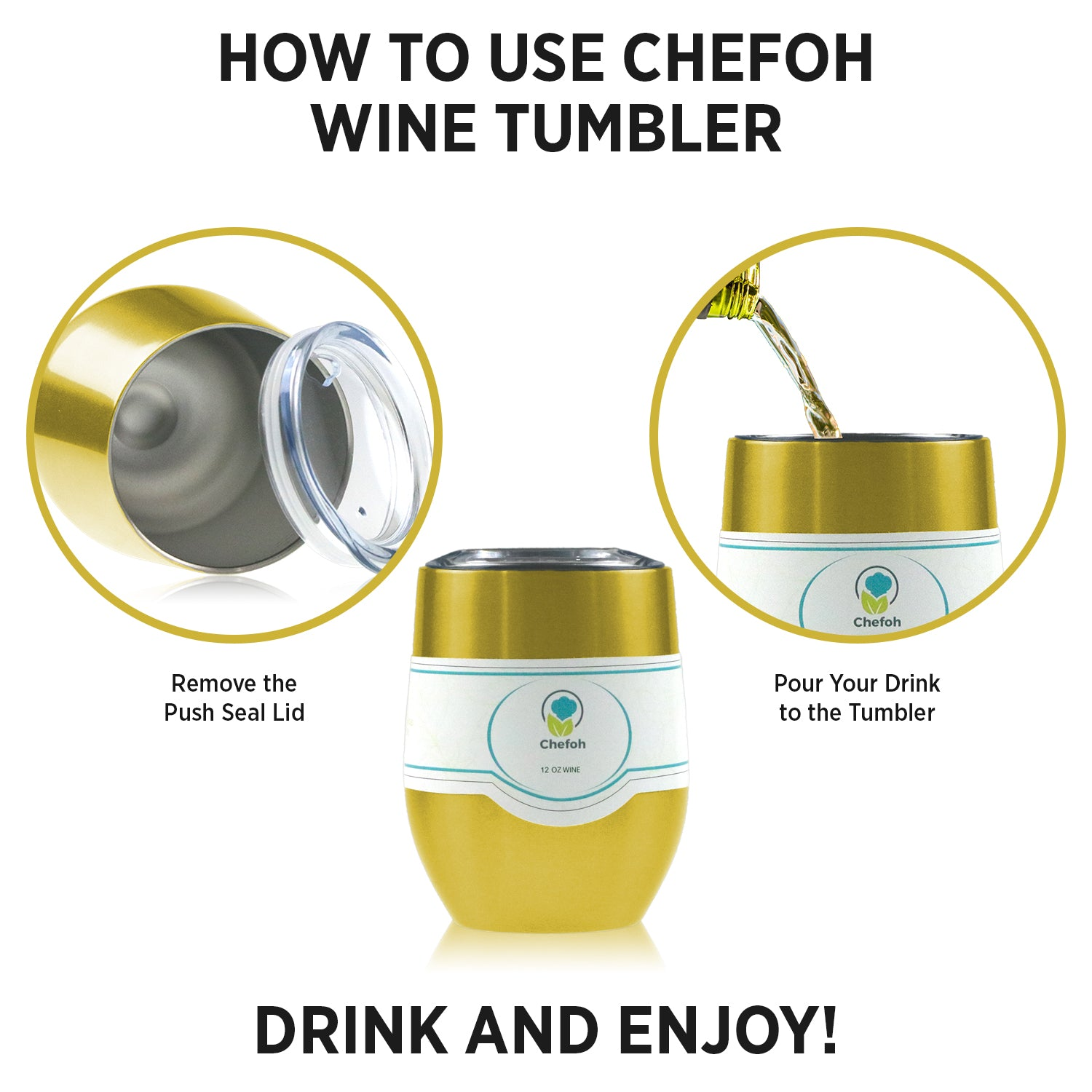 Chefoh Stainless Steel 12 Oz Stemless Drinking Glass Tumbler Cup - Gold - Double Wall Vacuum Insulated - Sweat Free - Ergo Silicone Lid - Smooth Mouth Rim - For Wine - Beer - Champagne - Coffee & More