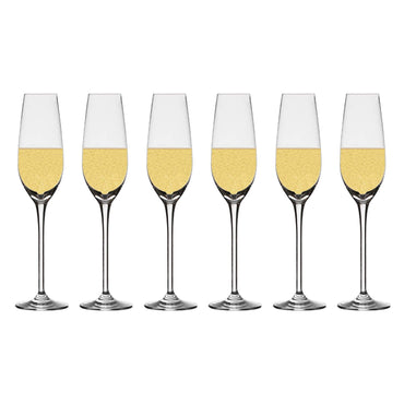 Chefoh Champagne Flutes Crystal Wine Glasses - Perfect for Wedding - Parties and Bar - Made From 100% Pure Glass Pack - 7 Oz - Set of 6