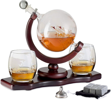 Chefoh Glass Globe Decanter Set w/Whiskey Glasses - Reusable Steel Ice Cubes - Cherry Wood Stand - Tongs - Pour Funnel | Liquor - Wine - Scotch | Vintage Home - Dining - Bar Decor