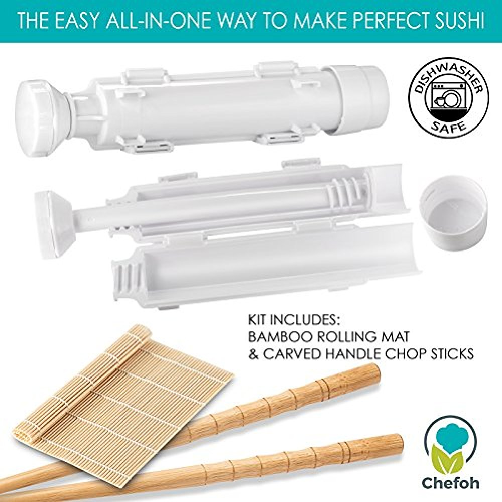 Chefoh All-In-One Sushi Making Kit | Sushi Bazooka - Sushi Mat & Bamboo Chopsticks Set | DIY Rice Roller Machine | Very Easy To Use | Food Grade Plastic Parts Only | Must-Have Kitchen Appliance