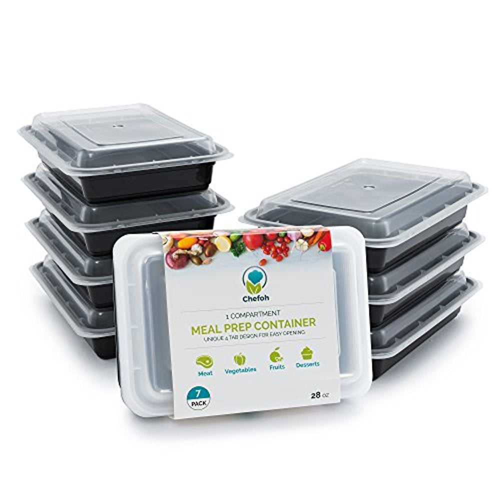 Chefoh 7-Pack 1 Compartment Meal Prep Containers with Lids - 28 oz | Reusable Microwavable Food Storage Containers