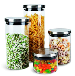 Chefoh Glass Jar Wide Mouth - Airtight Plastic Lid - Free Dishwasher Safe Jar for Beans - Jelly - Storing and Canning Uses