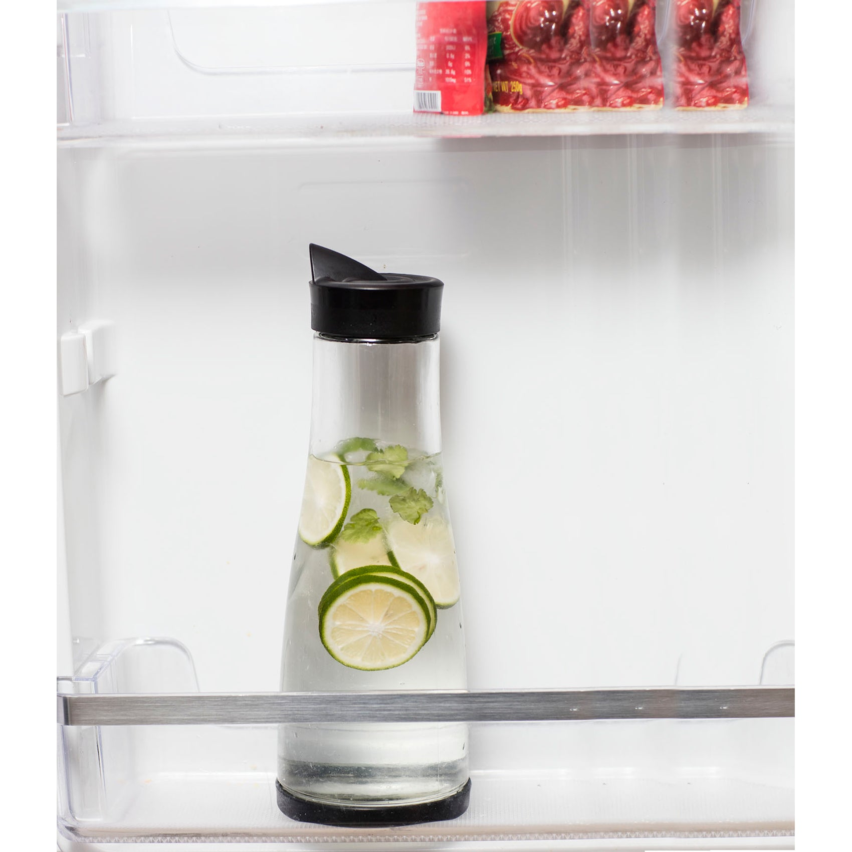 Chefoh Glass Water Carafe With Lid And Protective Base - EZ Pour Drip Spout 1 Liter/ 33.8 Oz - Fridge Water Pitcher Bottle Dispenser - Great For Juice - Lemonade - Iced Tea - Milk - Wine