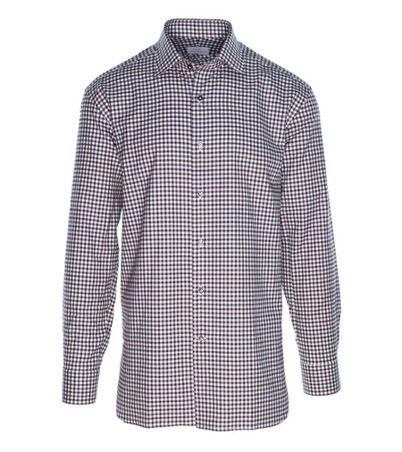 Brown Grey Brushed Cotton Mini Check Shirt