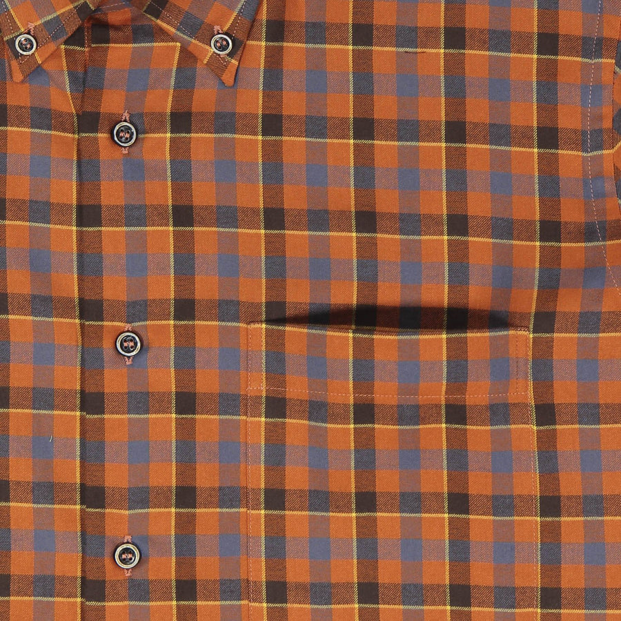 Orange Mini-check Shirt - Bruli for Via Luca