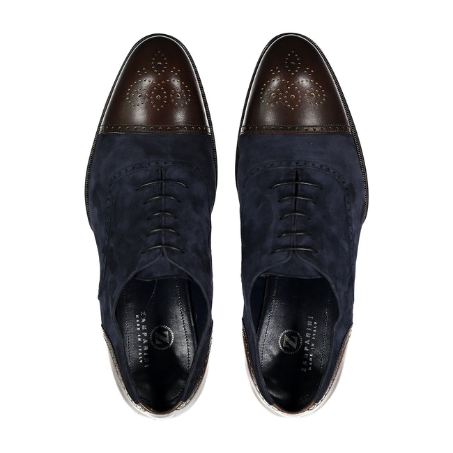 Leather & Suede Wingtip Shoe