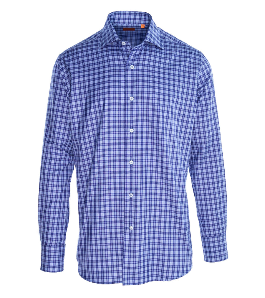 Navy Check Two Ply Cotton Shirt