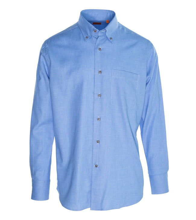 Button-down Pale Blue Cashmere Cotton Shirt