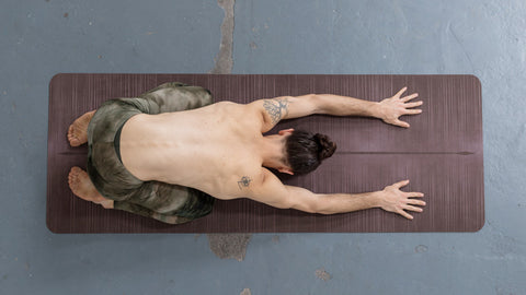 Active Childs Pose (Balasana) for lower back pain for Youtube video tutorial