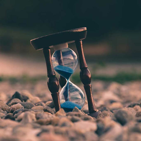 Picture of sand clock for yoga blog about personal growth, change