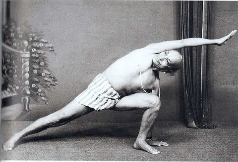 Sri Krishnamacharya doing Hatha yoga. Black and white picture