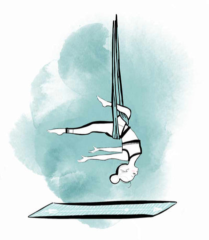 ZENAGOY drawing of Aerial yoga practice for blog post types of yoga