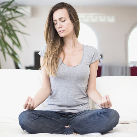 Sitting is eyes closed for 10 min meditation