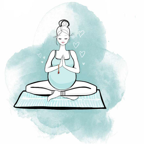 Drawing of pregnancy yoga for the article about benefits of prenatal yoga