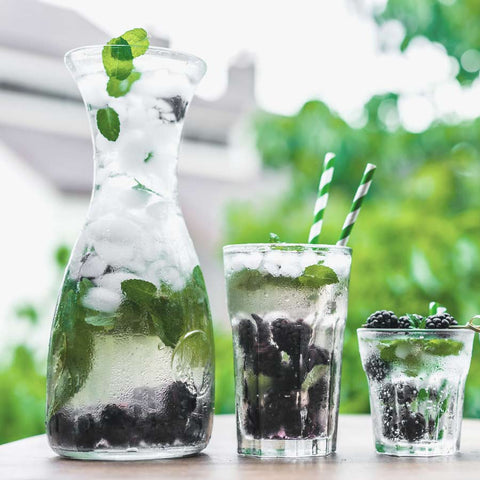 Glass of water with ice cubes, lemon, mint and blueberries
