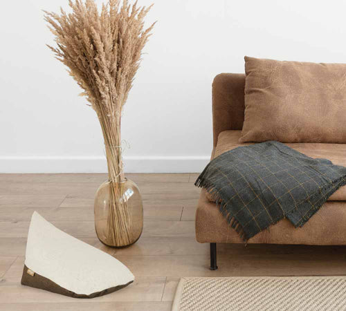 Hand made, ecofriendly, made from brown vegan leather and beige colour hep - omigo floor cushion