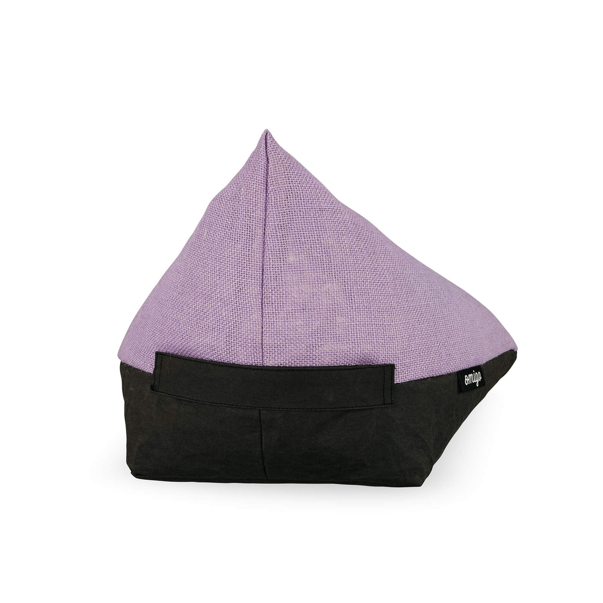 meditation cushion with black vegan leather base and purple hemp top