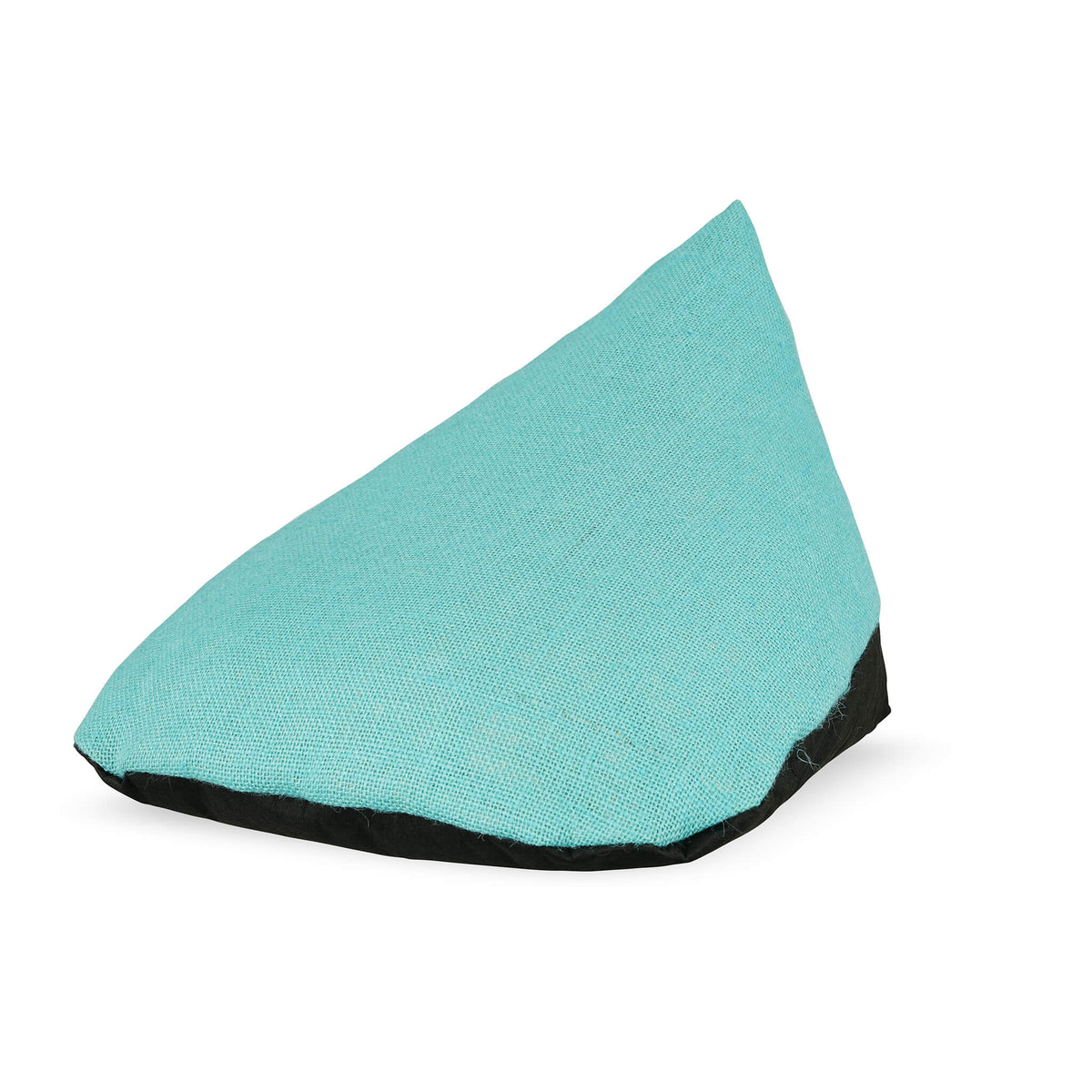floor pillow with black vegan leather base and blue turquoise hemp top