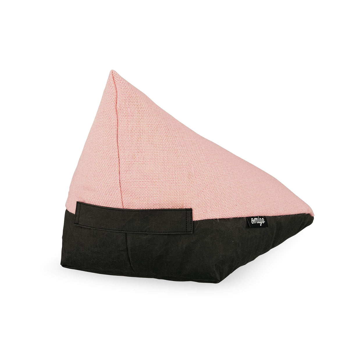 floor cushion with black vegan leather base and pink hemp top
