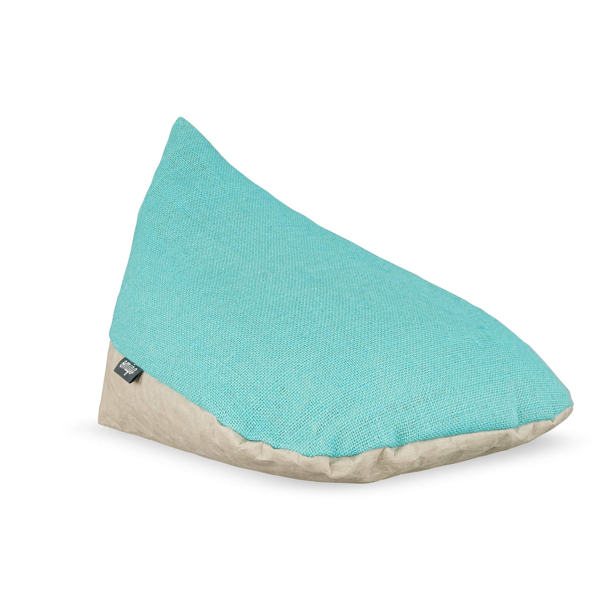 meditation pillow with grey vegan leather base and blue top