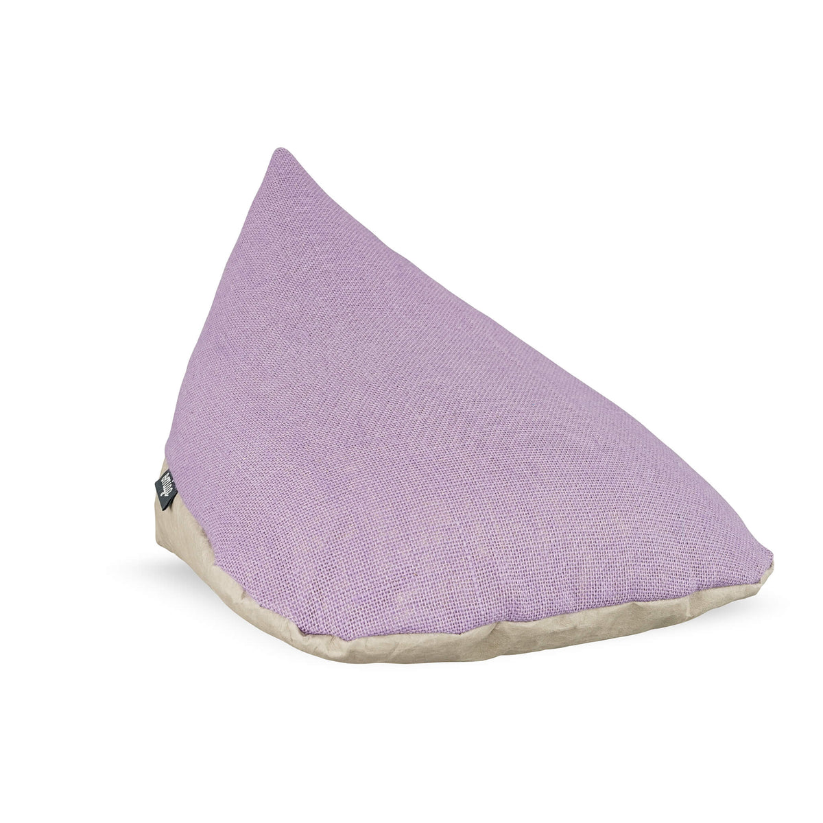 meditation pillow with grey vegan leather base and purple hemp top