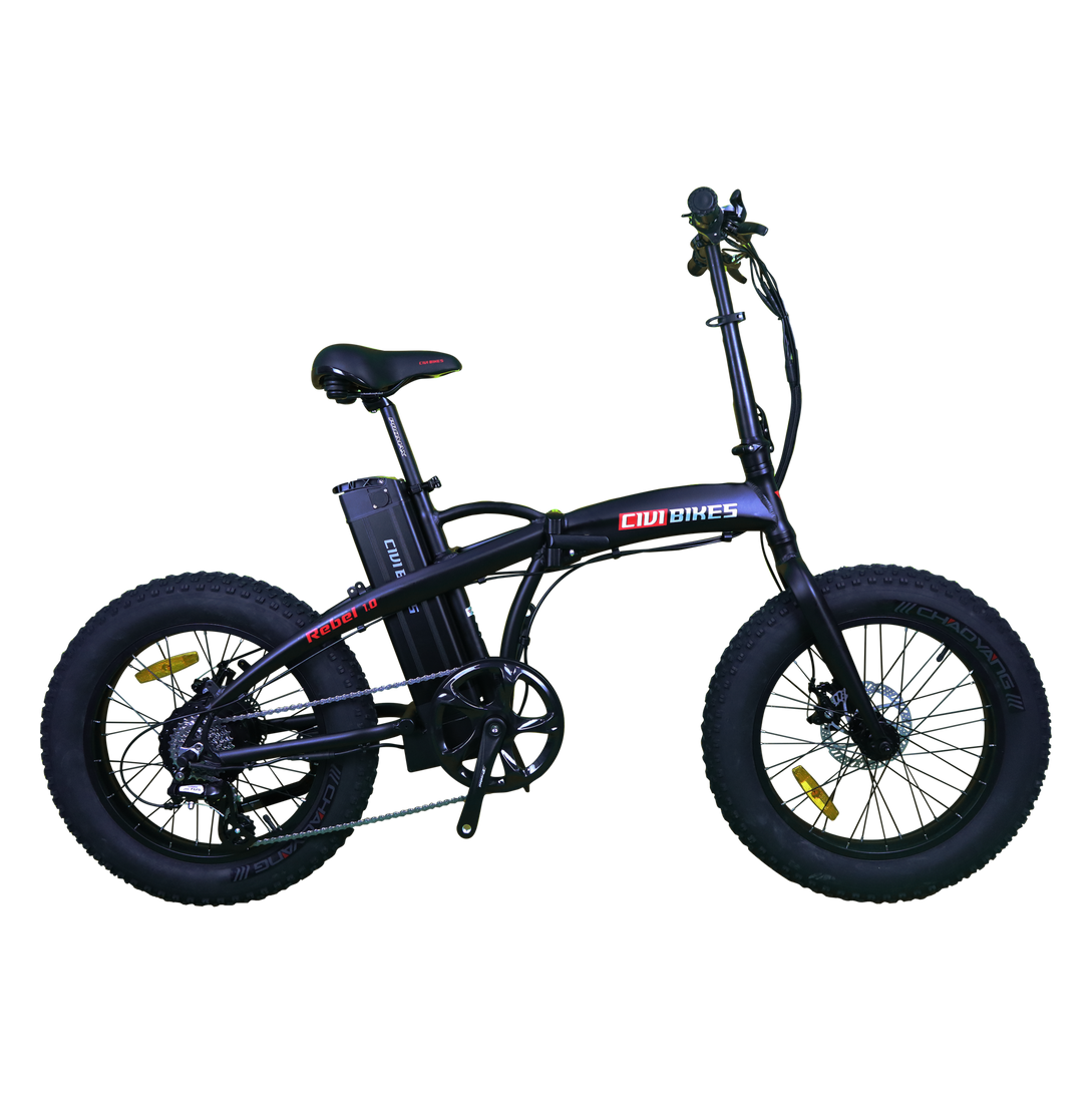 Rebel 1.0 - 500W Folding Fat Tire Electric Bike - Bicycle Civibikes and Revibikes E-Bike Fast