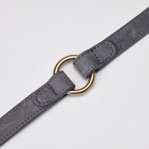 grey leather dog lead