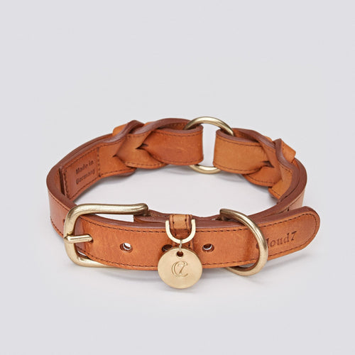 Cloud7 Hyde Park Cognac Leather Dog Collar