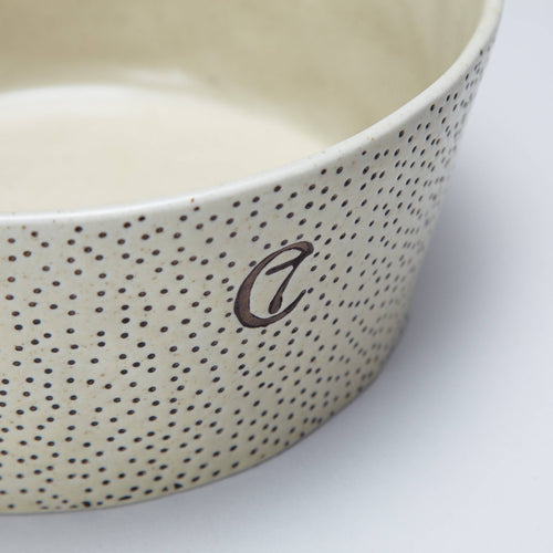 ceramic dog bowl with dots