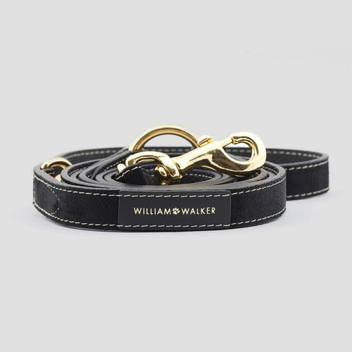 William Walker Leather Dog Leash - Royal Black