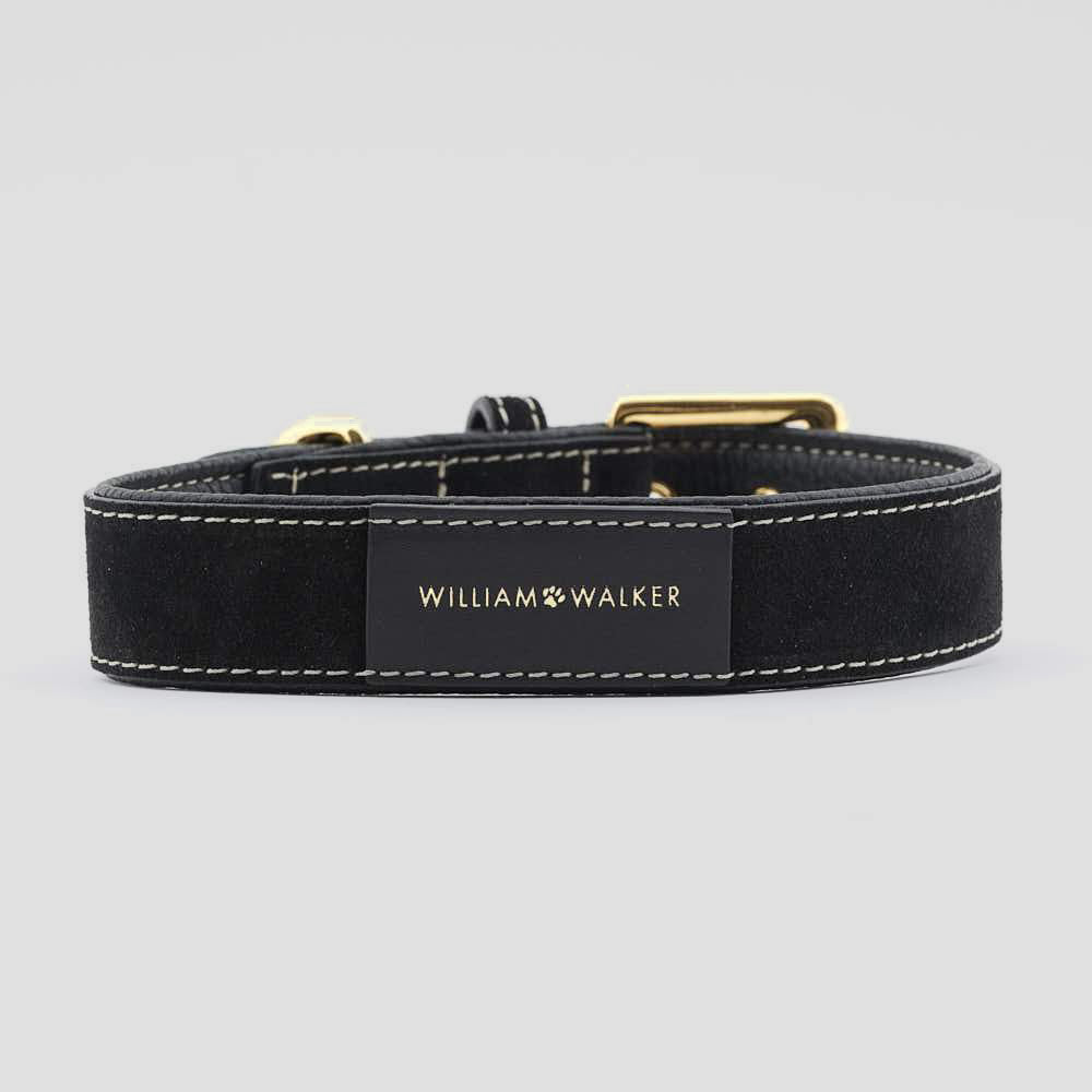 William Walker Leather Dog Collar - Royal Black