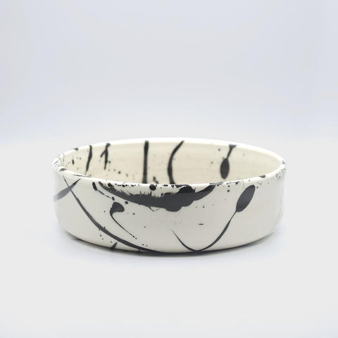 btw Ceramics Black Dot Ceramic Dog Bowl