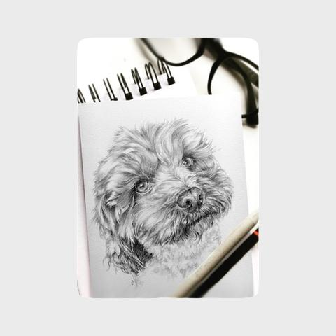 hand drawn dog portrait sketch
