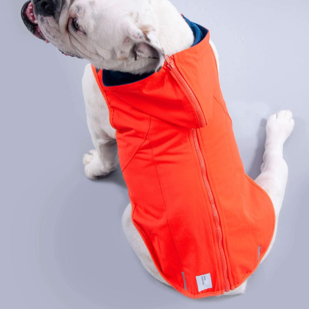 dog coat with reflective safety trim