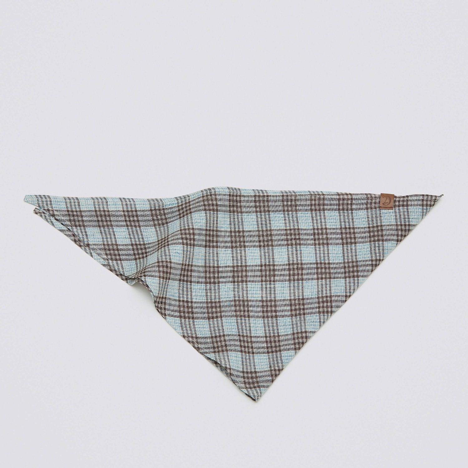 Cloud7 Cyan and Brown Check Dog Bandana